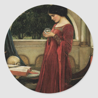 Crystal Ball by Waterhouse, Vintage Victorian Art Classic Round Sticker