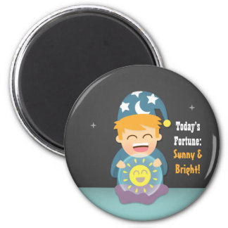 Crystal Ball Fortune Teller Think Positive 2 Inch Round Magnet
