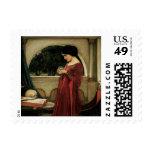 Crystal Ball, JW Waterhouse, Vintage Victorian Art Postage Stamps