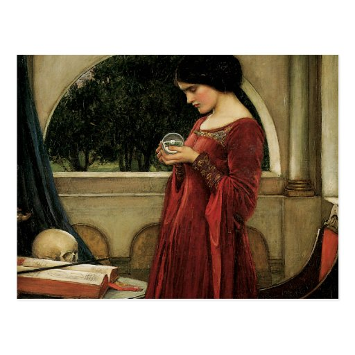 Crystal Ball, JW Waterhouse, Vintage Victorian Art Postcards