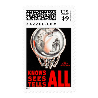 Crystal Ball Knows, Sees, Tells All Postage Stamps