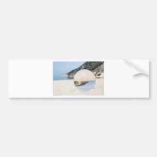 Crystal ball on sandy greek beach bumper sticker