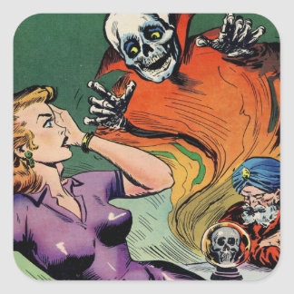 Crystal Ball Scare Square Sticker