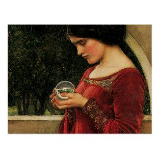 Crystal Ball Waterhouse Painting Magic Fantasy Postcard