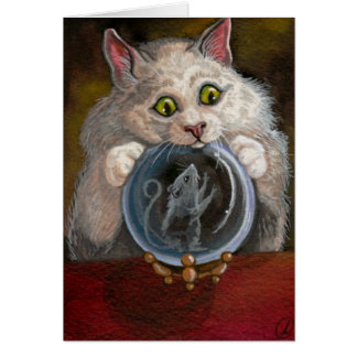 CRYSTAL BALL White Cat Mouse Card