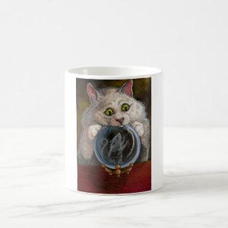 CRYSTAL BALL White Cat Mouse Mug