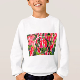 Crystal ball with red-white tulips in field sweatshirt