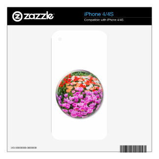 Crystal ball with various colored tulips on white iPhone 4 decals