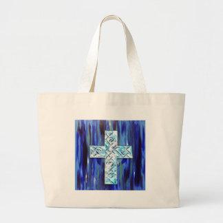 Crystal Blue Cross II Tote Bags