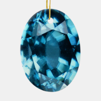 Crystal Blue Gemstone Zircon December Birthstone Ceramic Ornament