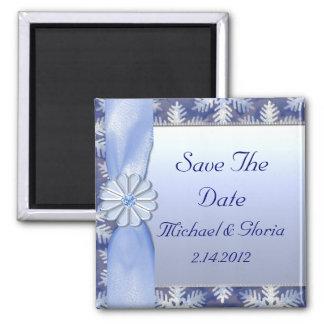 Crystal Blue Snowflake Celebration Magnets