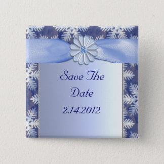 Crystal Blue Snowflake Celebration Pinback Button