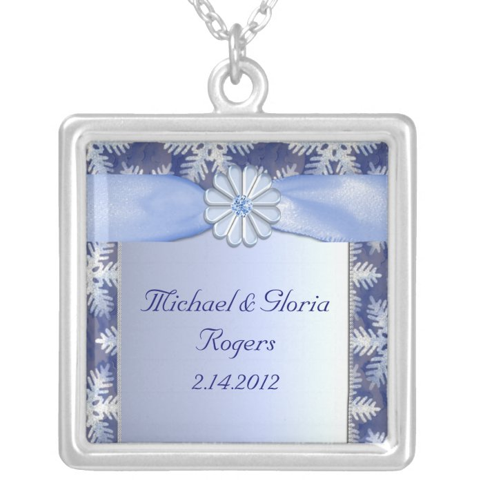 Crystal Blue Snowflake Celebration Silver Plated Necklace