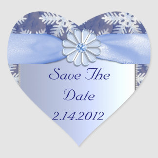Crystal Blue Snowflake Celebration Heart Sticker