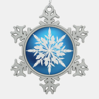 Crystal Blue Snowflake Christmas Ornament Ornament