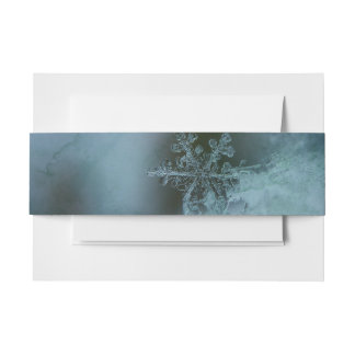 Crystal Blue Snowflake Invitation Belly Band