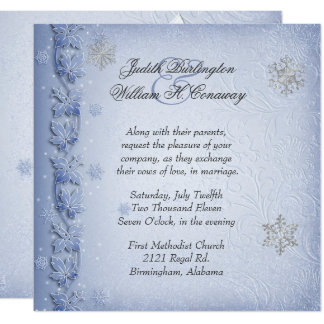 Crystal Blue Snowflakes Winter Wedding Invitation