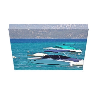 Crystal Blue Water And Two Boats Canvas Print