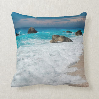 Crystal blue wave throw pillow