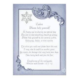 Crystal Blue Winter Frame Wedding Basket Sign Invitation
