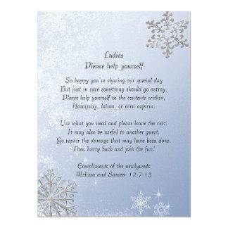 Crystal Blue Winter Snowflake Wedding Basket Sign Card