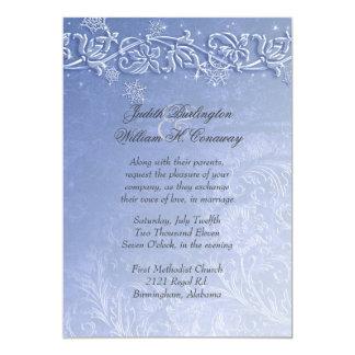 Crystal Blue Winter Wedding Invitation