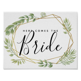 crystal botanical here comes the bride poster