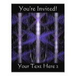 Crystal Burst. Fractal Art in Black and Purple 4.25x5.5 Paper Invitation Card