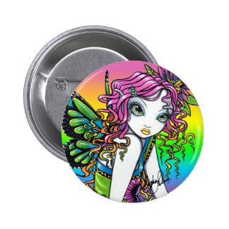 """""""Crystal"""" Candy Rainbow Butterfly Fairy Art Button"""