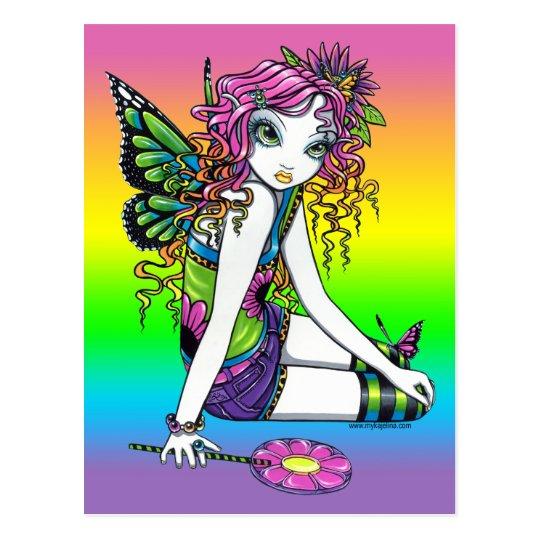 """""""Crystal"""" Candy Rainbow Butterfly Fairy Postcard"""