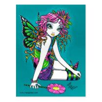 rainbow, fairy, candy, flower, butterfly, faery, faerie, fairies, gothic, myka, jelina, acrylic, Cartão postal com design gráfico personalizado