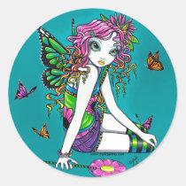 rainbow, butterfly, candy, fairy, sucker, lolli, pop, flower, faerie, faery, fairies, fae, acrylic, Sticker with custom graphic design