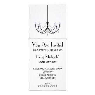 "Crystal Chandelier Birthday Party Invitation 4"" X 9.25"" Invitation Card"