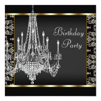 Crystal Chandelier Black Damask Birthday Party Card