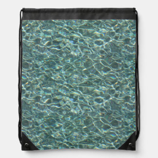 Crystal Clear Blue Water Surface Reflections Drawstring Bag
