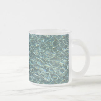 Crystal Clear Blue Water Surface Reflections Frosted Glass Coffee Mug