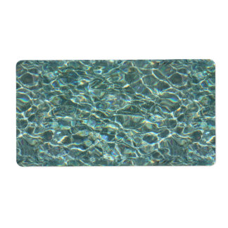 Crystal Clear Blue Water Surface Reflections Label