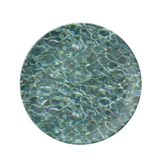 Crystal Clear Blue Water Surface Reflections Porcelain Plates
