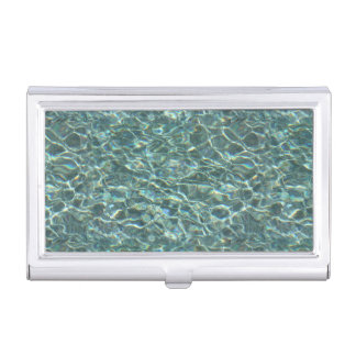 Crystal Clear Blue Water Surface Reflections Case For Business Cards