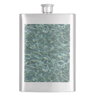 Crystal Clear Blue Water Surface Reflections Flask