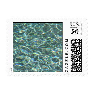 Crystal Clear Blue Water Surface Reflections Postage