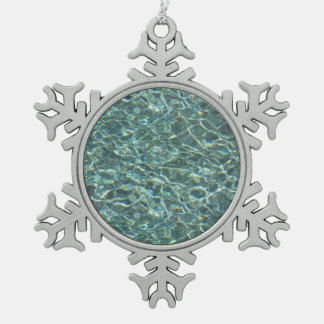 Crystal Clear Blue Water Surface Reflections Snowflake Pewter Christmas Ornament