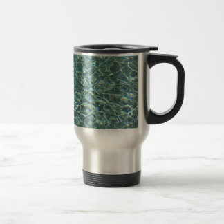 Crystal Clear Blue Water Surface Reflections Travel Mug