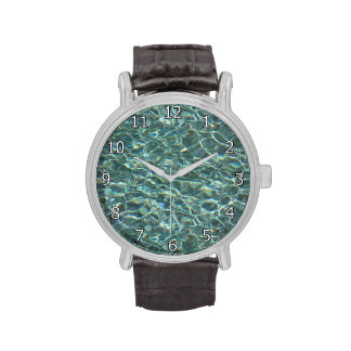 Crystal Clear Blue Water Surface Reflections Wristwatch