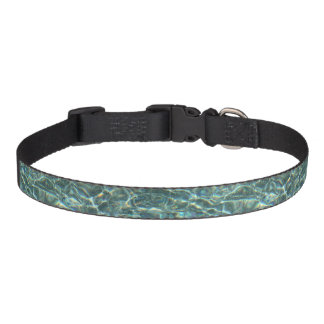 Crystal Clear Blue Water Surface Reflections Dog Collar