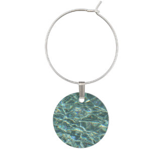 Crystal Clear Blue Water Surface Reflections Wine Charm