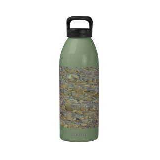 Crystal clear lake water with gravelly beach water bottle