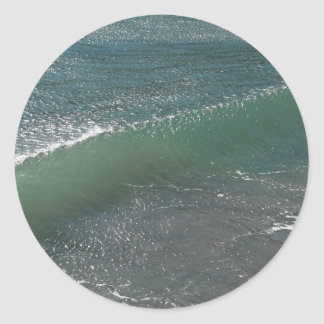 Crystal Clear Wave Movement Round Stickers