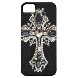 CRYSTAL CROSS BLACK VELVET PRINT iPhone SE/5/5s CASE