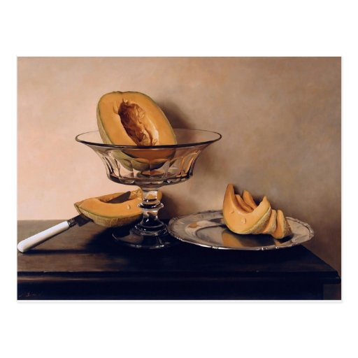 Crystal Dish with Melons by Mauro David Postcard